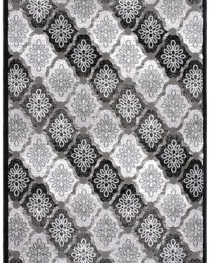 Beverly rug bella collection floral pattern area rug 00965a grey black